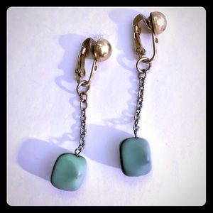 Jewelry - Gold Teal Clip-On Earrings